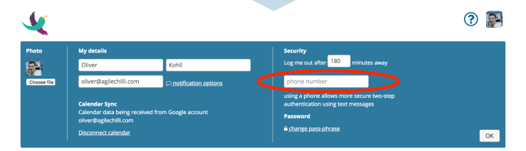 phone number entry